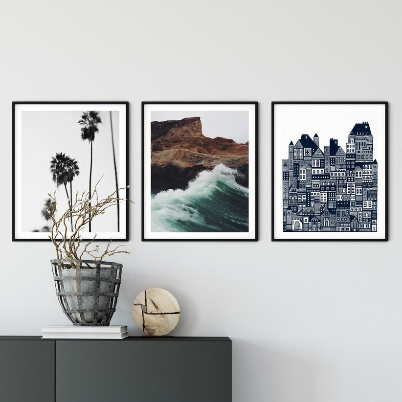 Trio of framed wall art from curated art subscription service