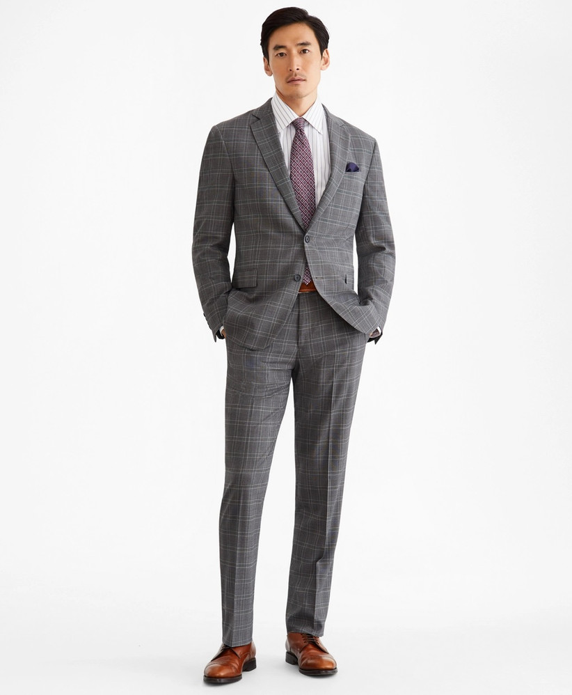 Breathable classic gray plaid summer wedding suit
