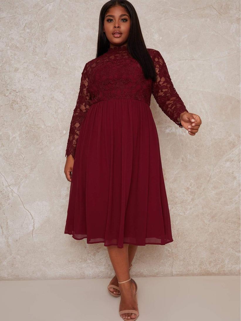 Plus size lace long-sleeve dress