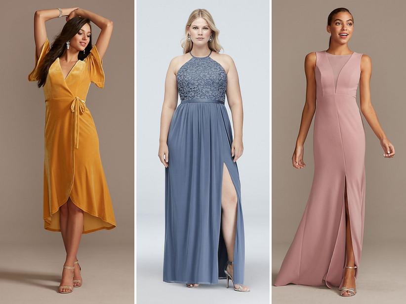 Collage of bridesmaid dresses left to right: marigold velvet midi, slate blue halter maxi, high neck sleeveless mauve maxi
