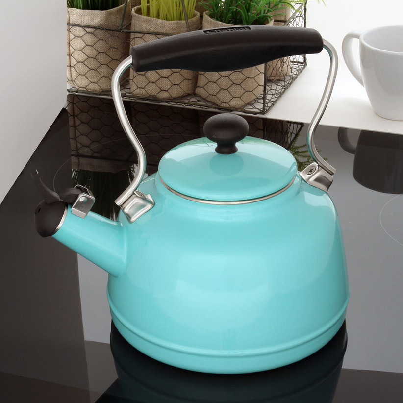 Blue vintage tea kettle housewarming gift for a couple