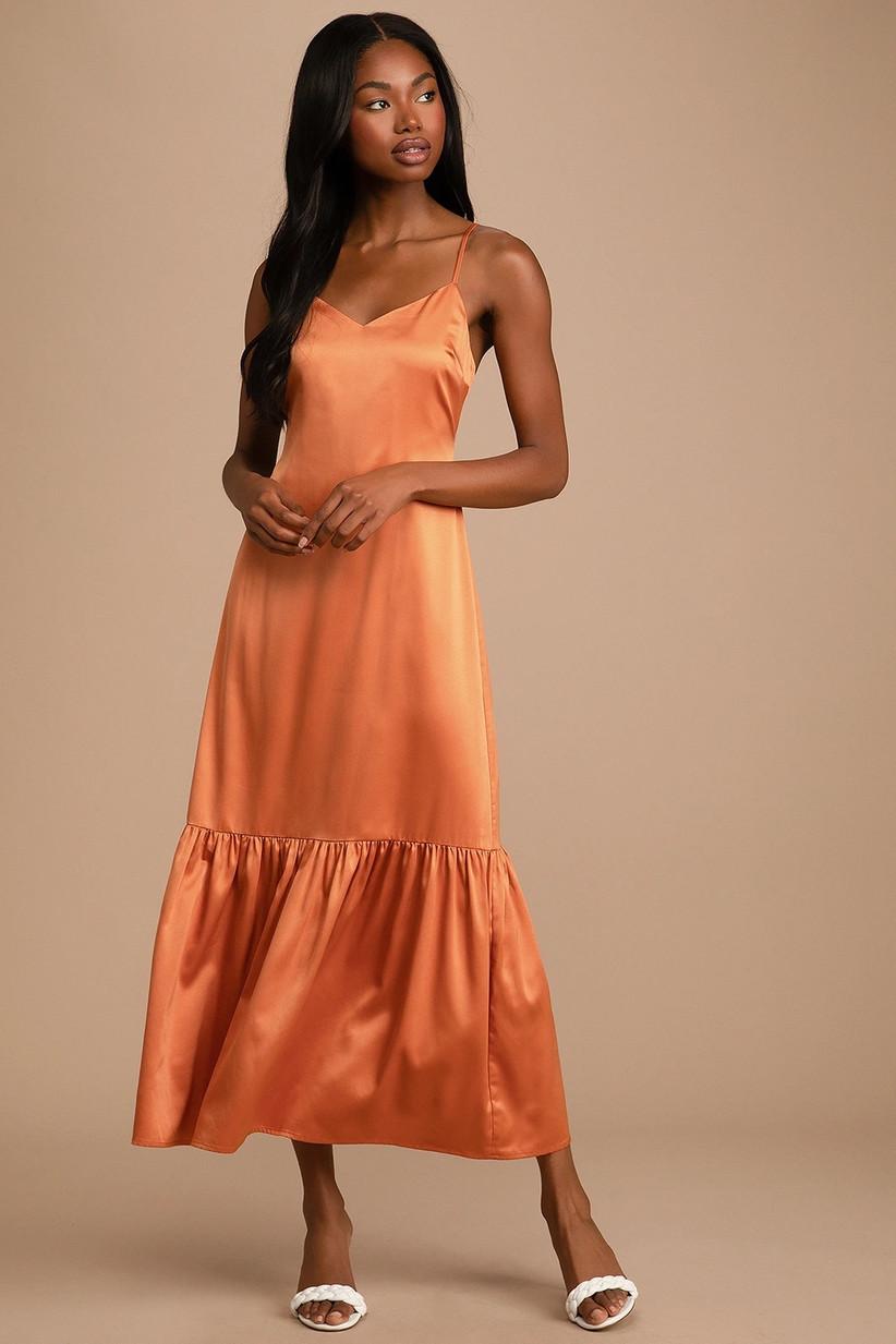 Sunset orange satin tiered maxi dress