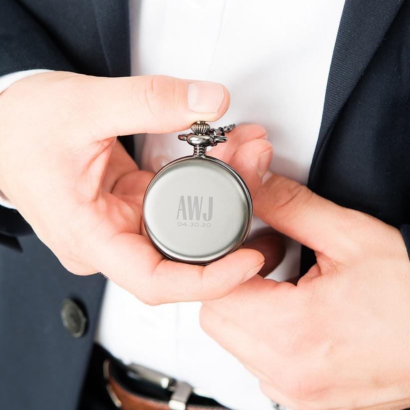Personalized pocket watch groomsmen gift idea