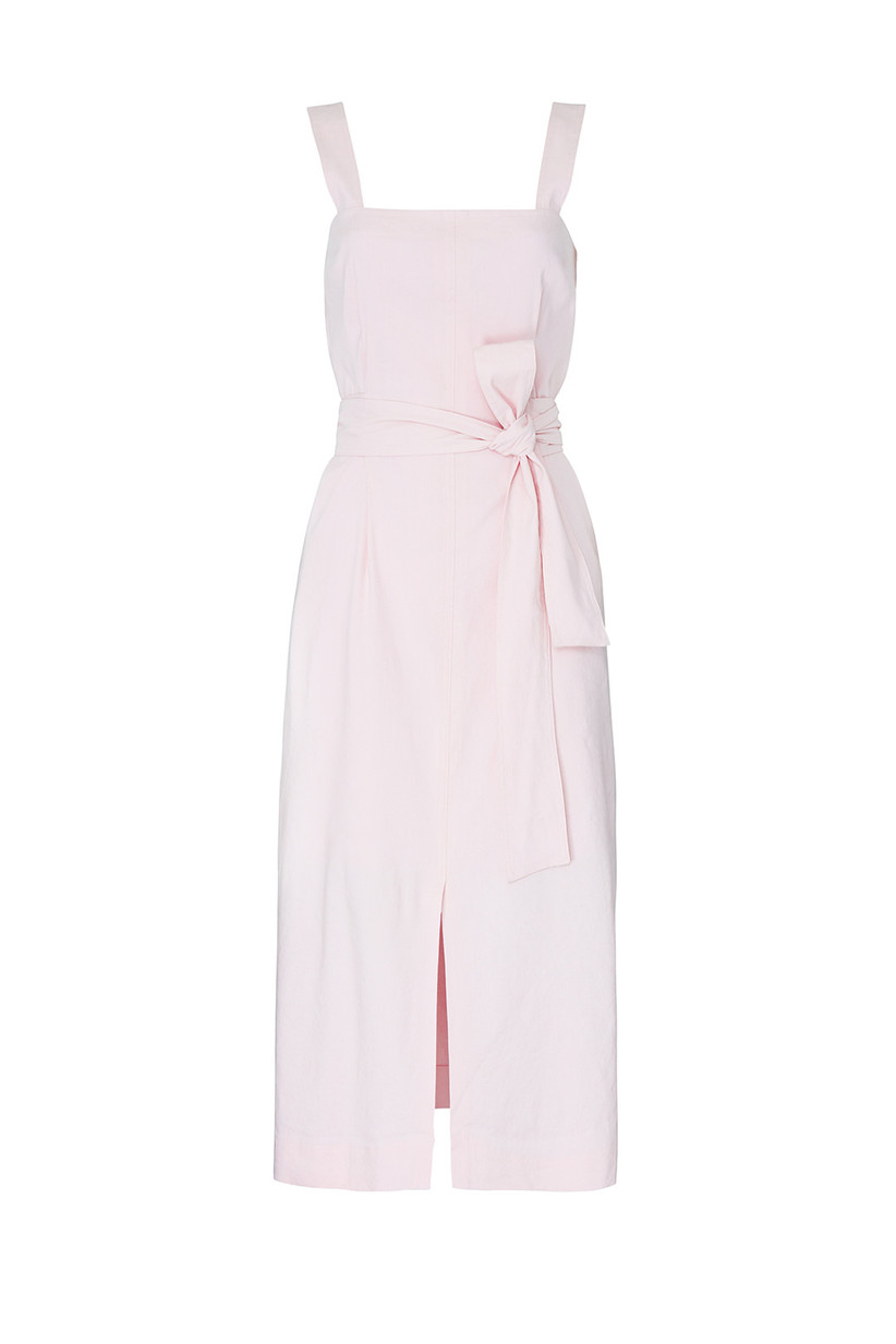 sleeveless pale pink engagement party dress with square neckline front slit and tie sash