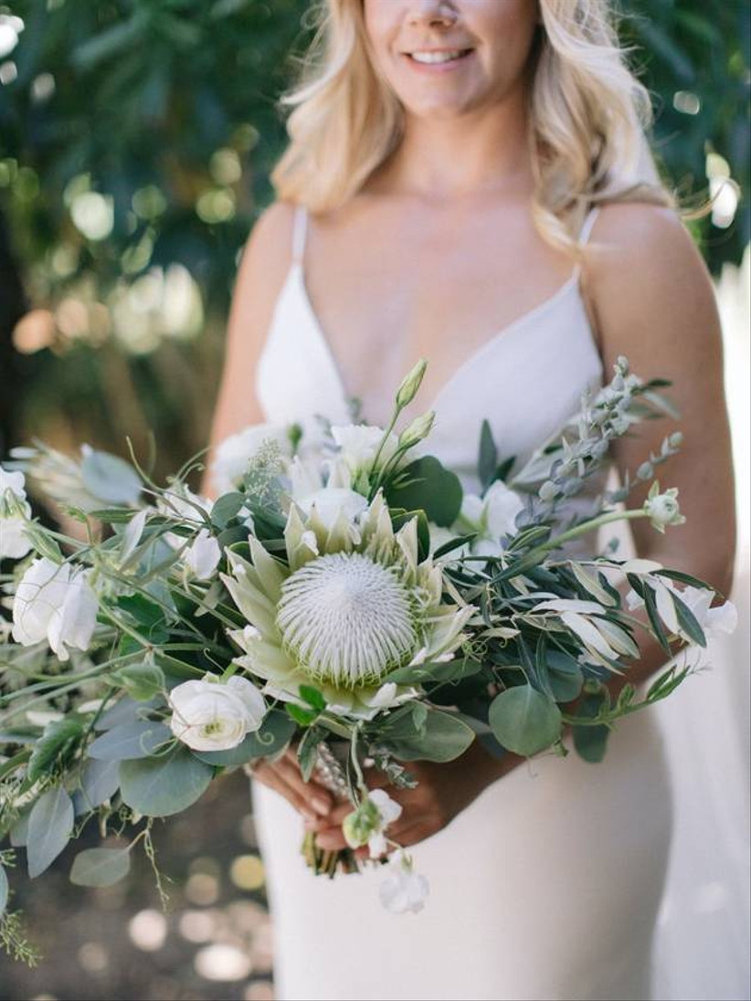 green and white protea bouquet