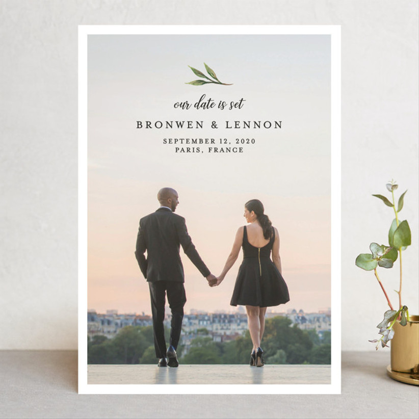 fall save the dates picture with leaf accent