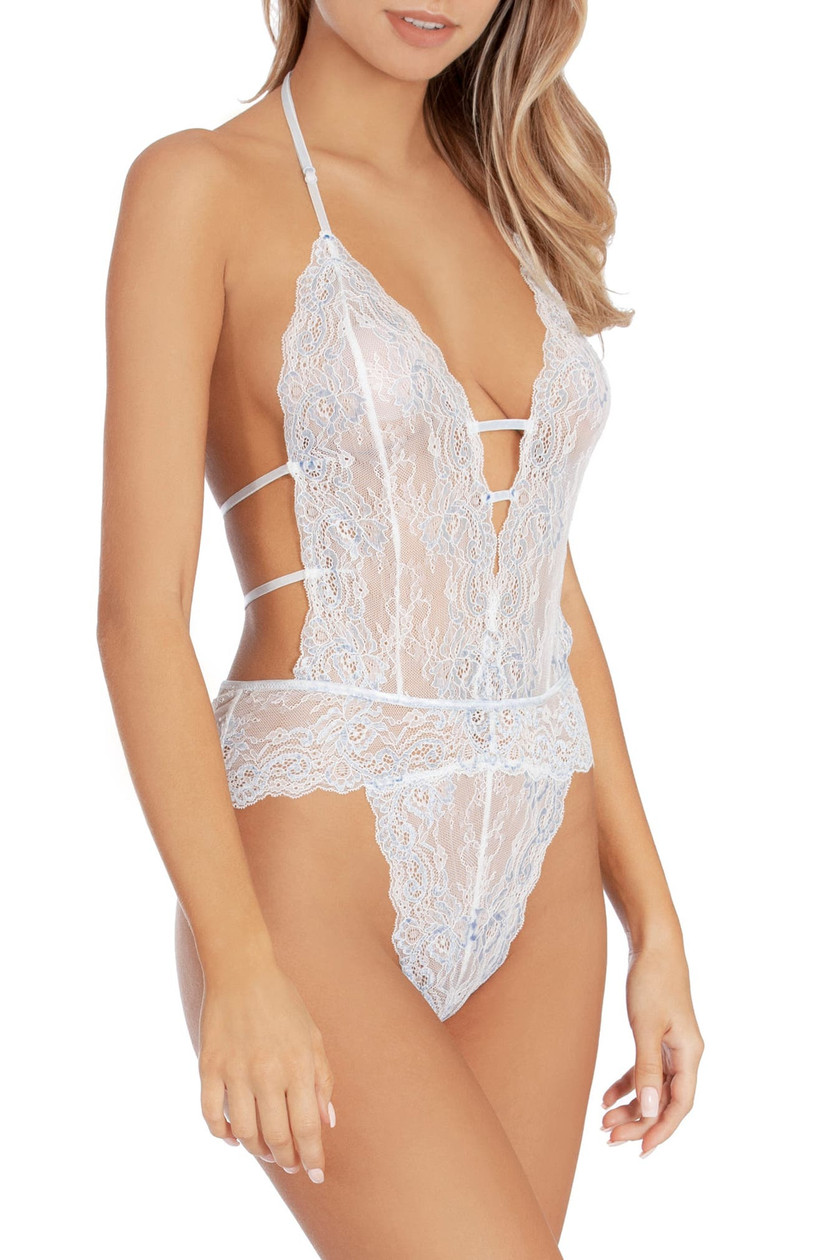 Icy blue and white bridal lingerie bodysuit