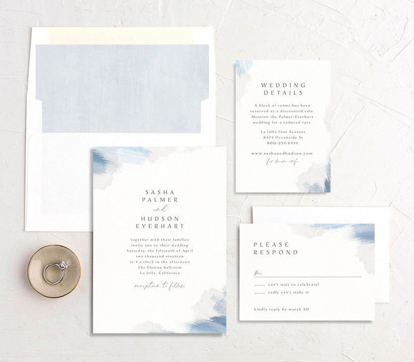 Watercolor affordable wedding invitations