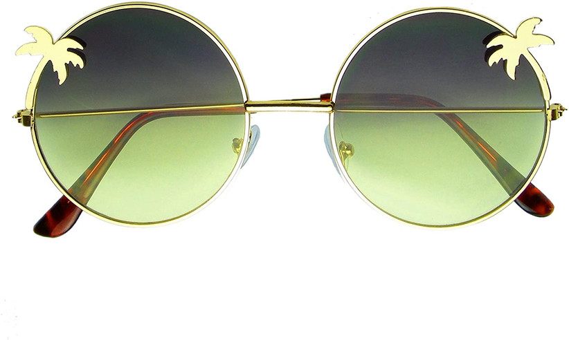 round sunglasses with yellow holograph lenses and gold palm trees