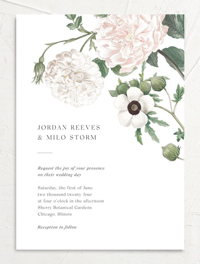 classic spring wedding invitation with anemone and peony botanical illustration