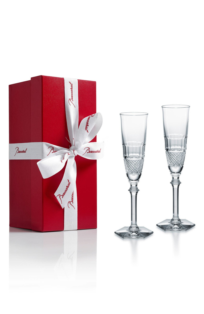 Set of two luxury crystal wedding champagne flutes