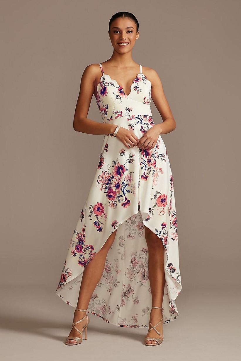 White floral high-low rehearsal dinner dress
