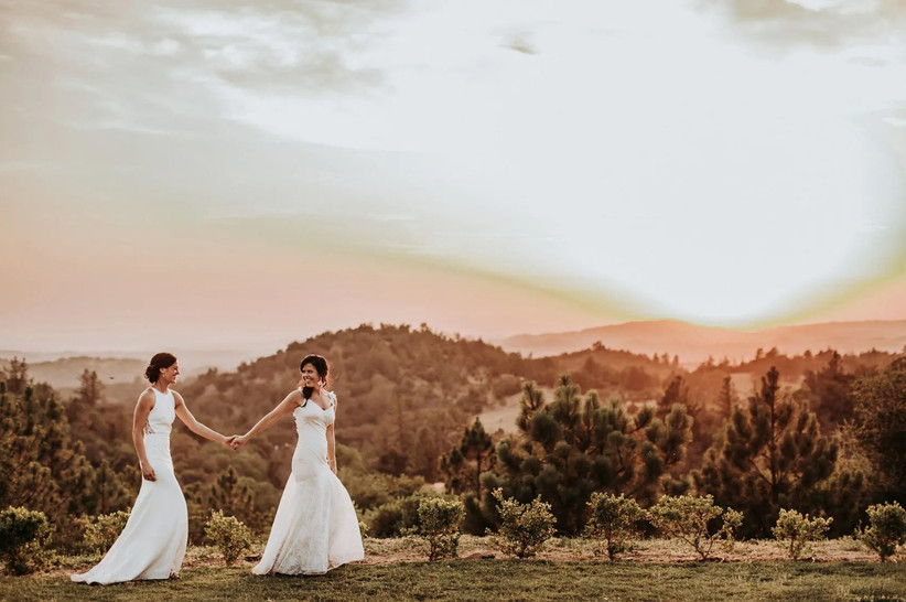 two brides holding hands with mountain backdrop