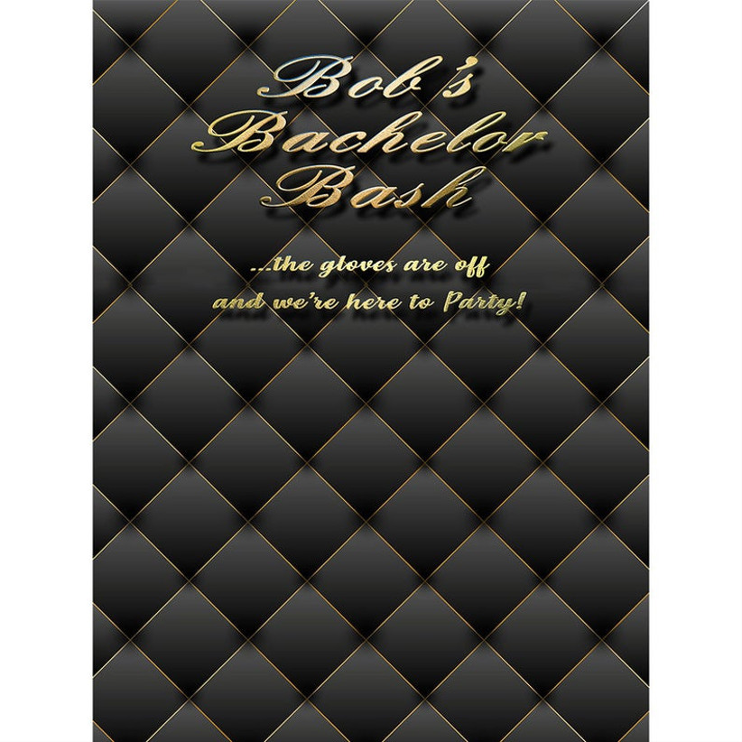 black and gold bachelor party photo backdrop