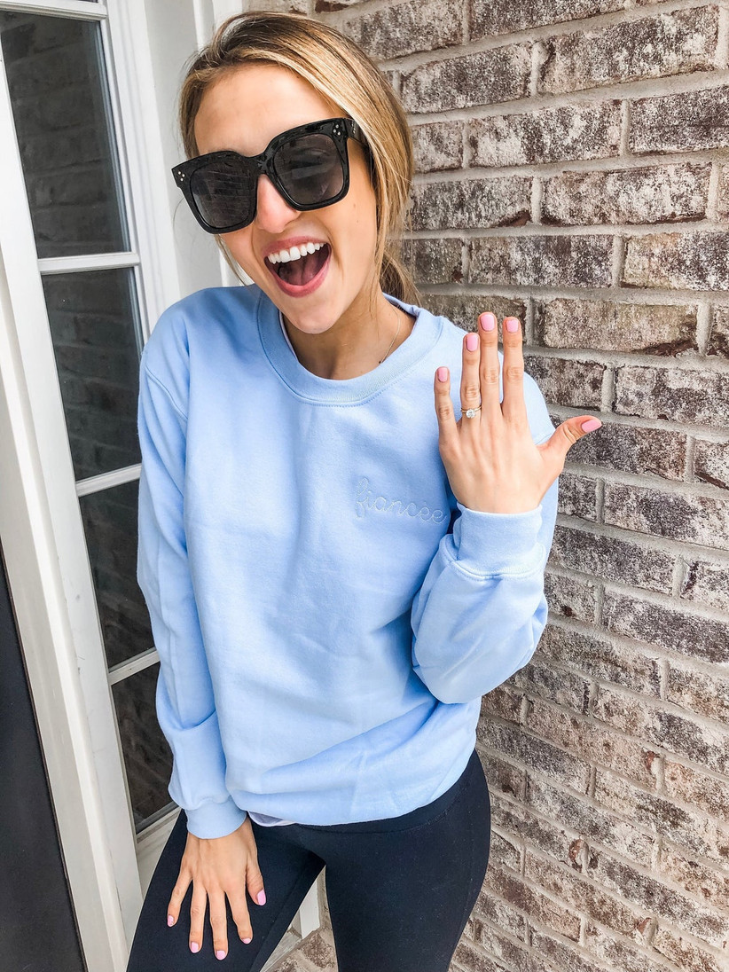 blue fiancee bride sweatshirt