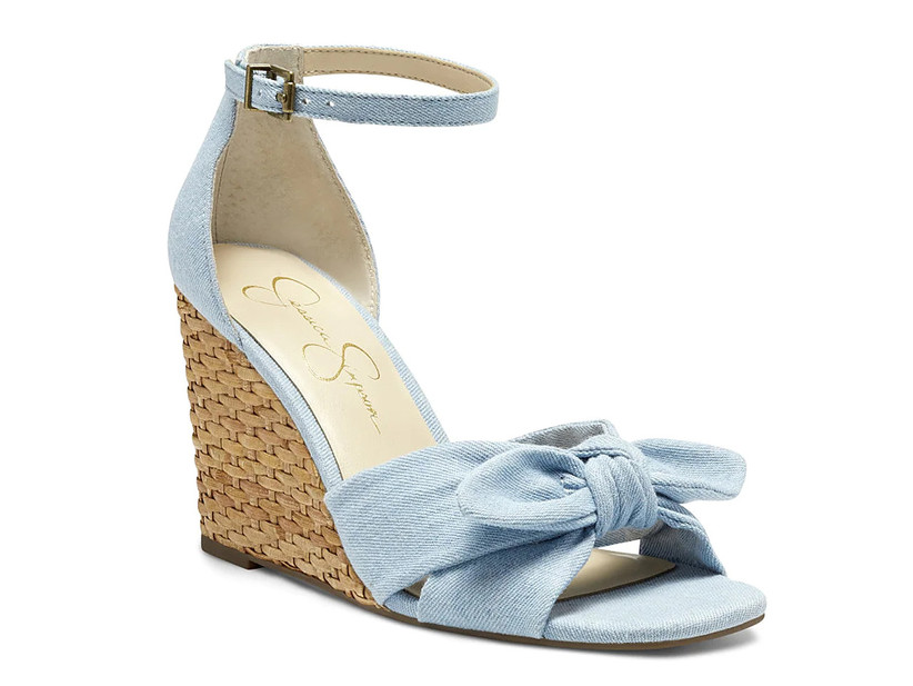 blue wedding shoe with braided rope wedge heel and bow strap