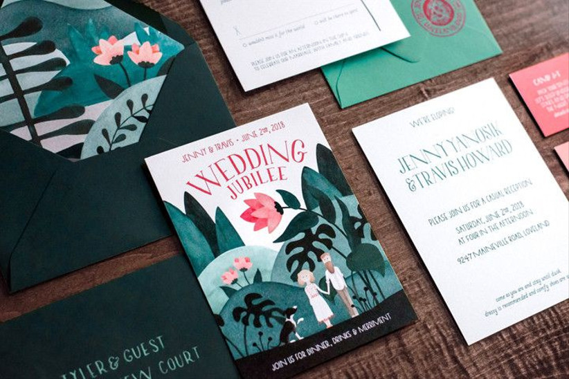 custom illustration wedding invitations