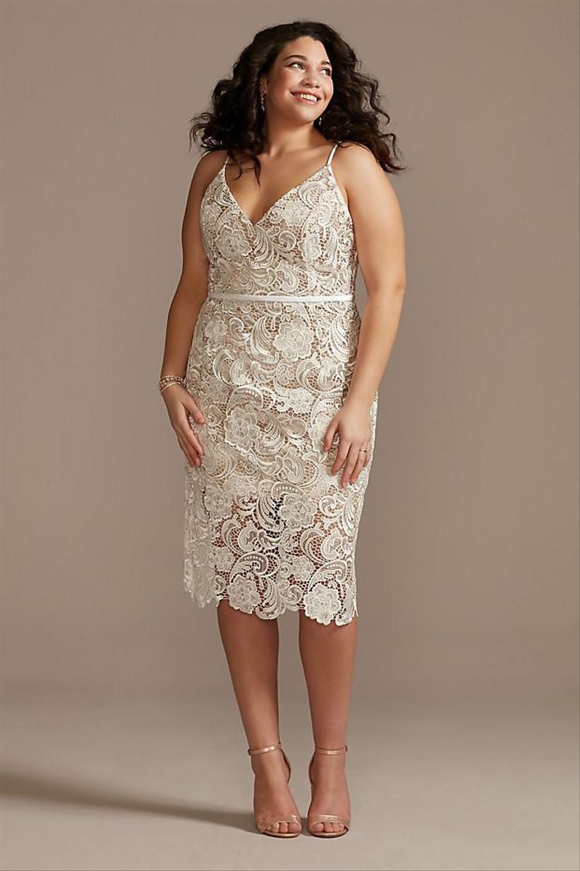 white lace sheath engagement party dress