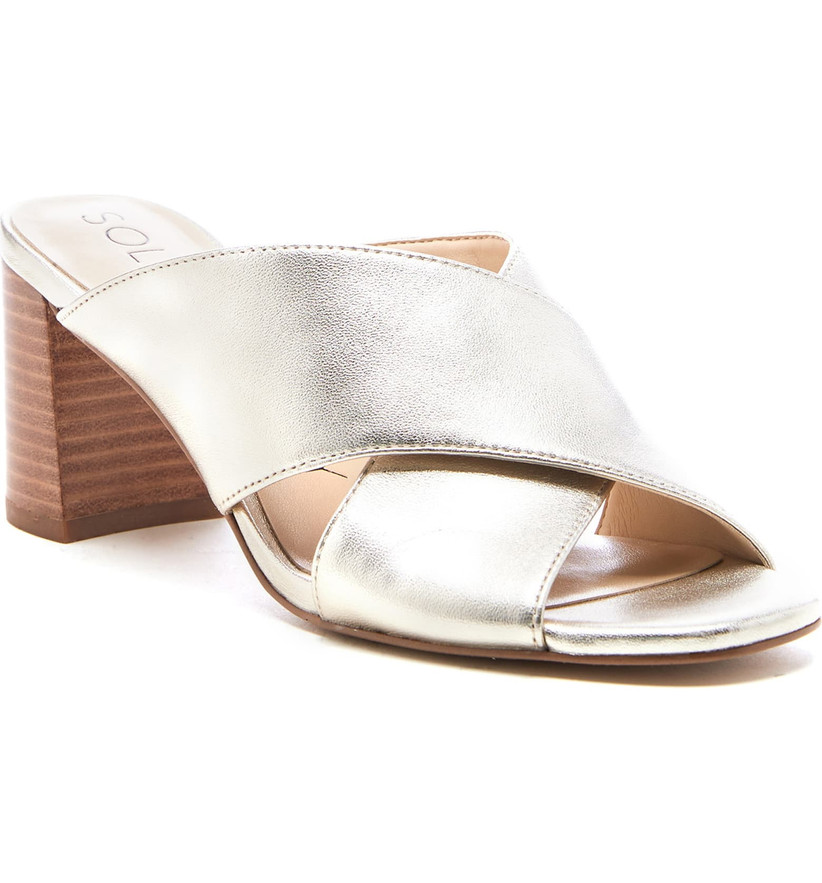 Wedding Guest Shoes metallic mule