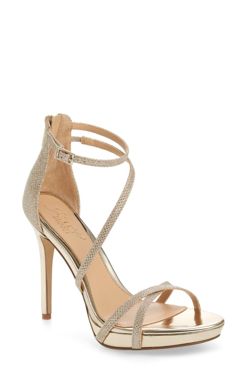 gold platform stiletto sandal with rhinestone straps