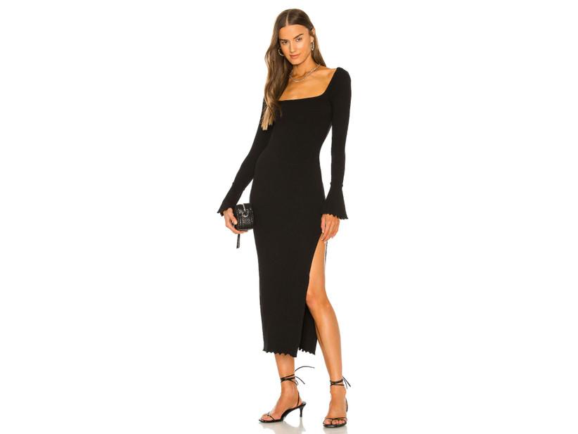 Black midi long-sleeve dress