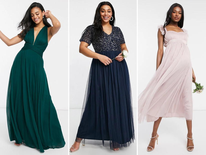 Collage of bridesmaid dresses left to right: emerald maxi dress with ruched bodice, navy tulle and sequin gown, pink tulle maternity midi