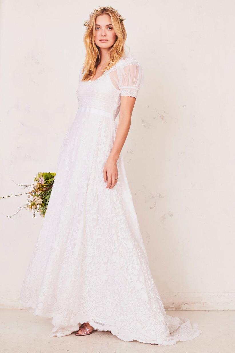 romantic lace courthouse wedding dress