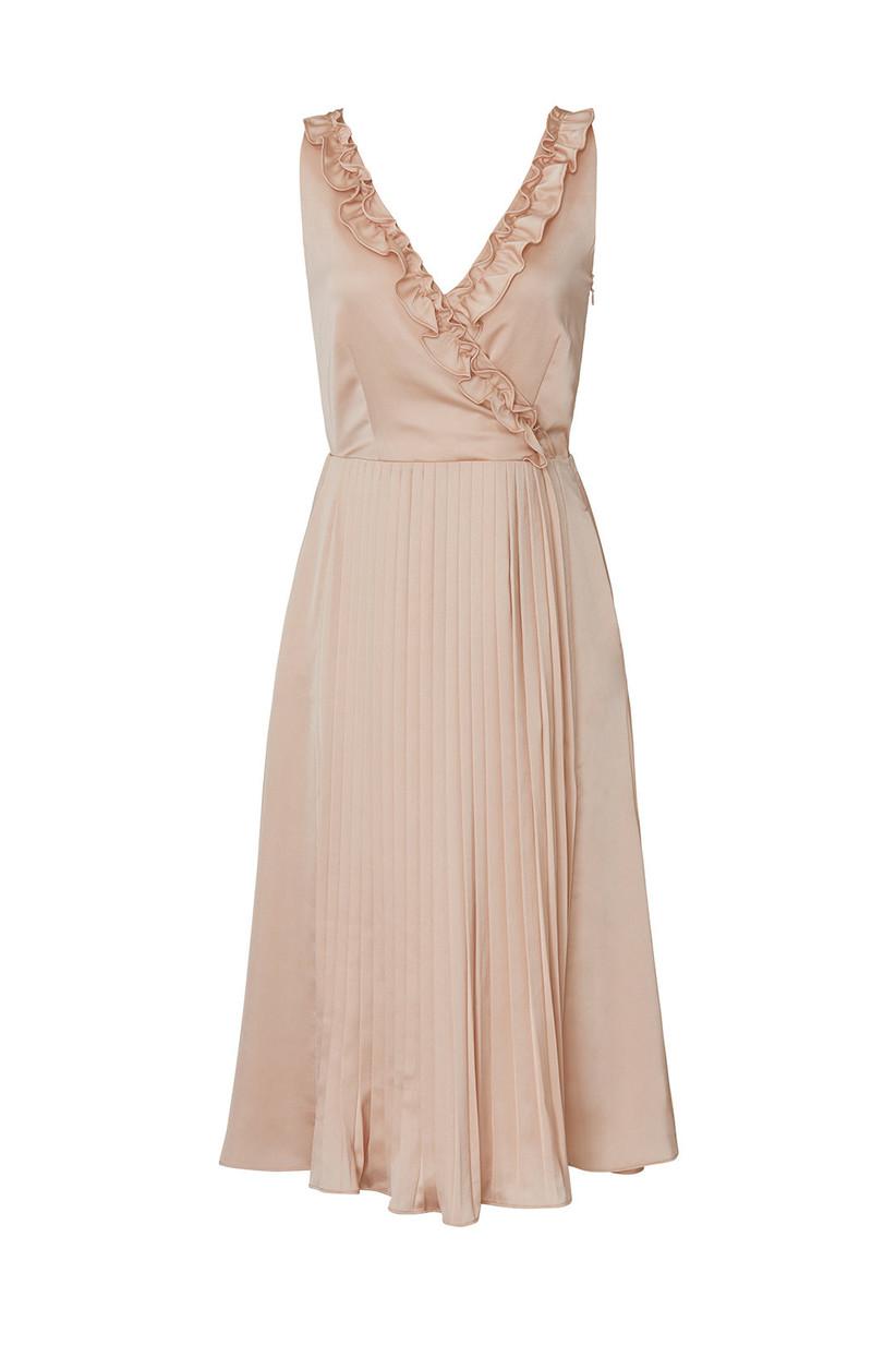 sleeveless blush pink wrap dress with ruffled neckline