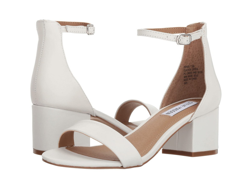 white leather beach wedding sandals with block heel and ankle strap