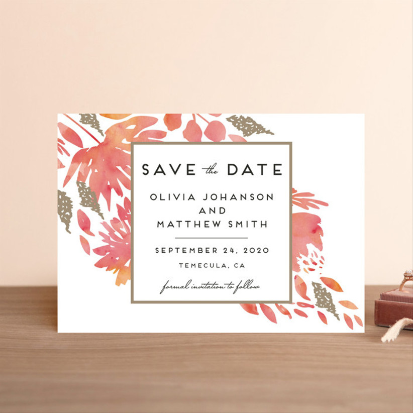 fall save the dates watercolor leaves