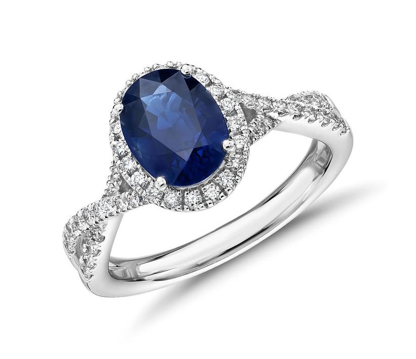 Diamond and sapphire halo ring 45th anniversary gift