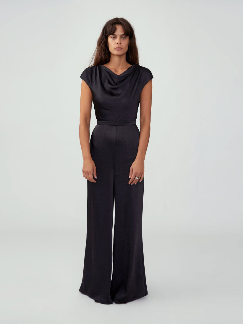 Black satin jumpsuit formal winter wedding guest outfit