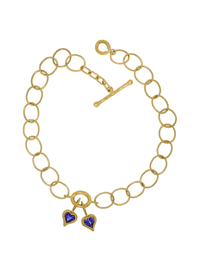 Sapphire heart chain link bracelet