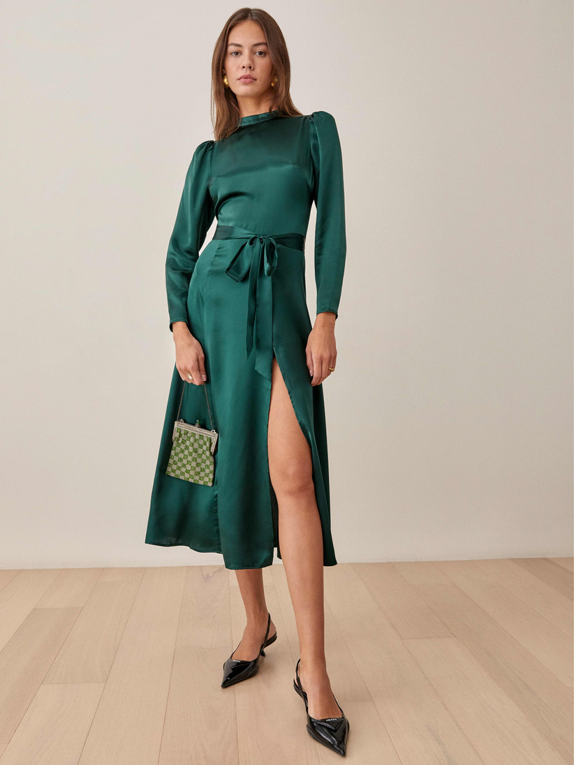 Emerald satin long-sleeve midi winter dress for wedding