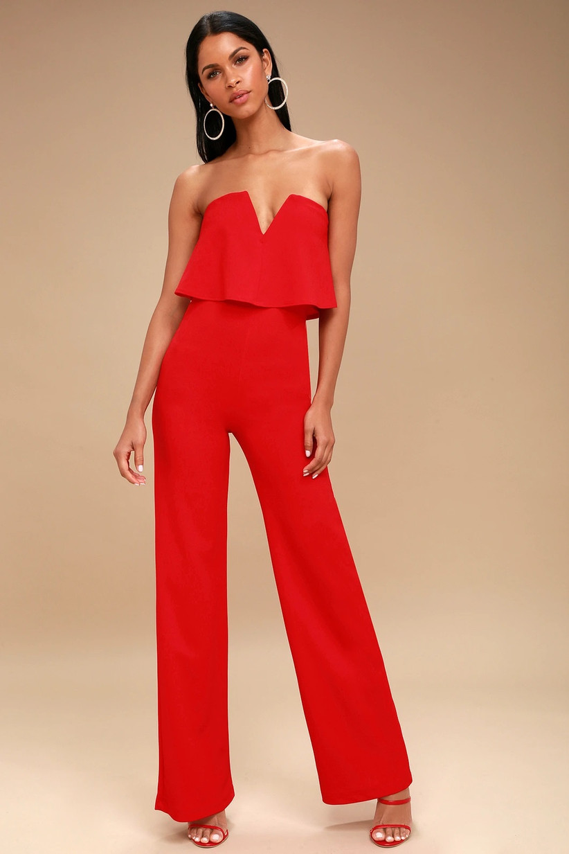 Bright red strapless jumpsuit christmas wedding guest outfit