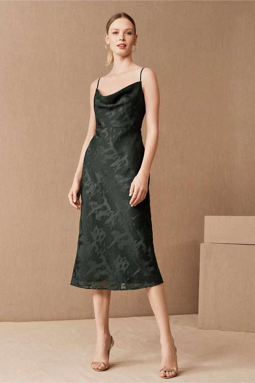 Burnout dark green slip dress