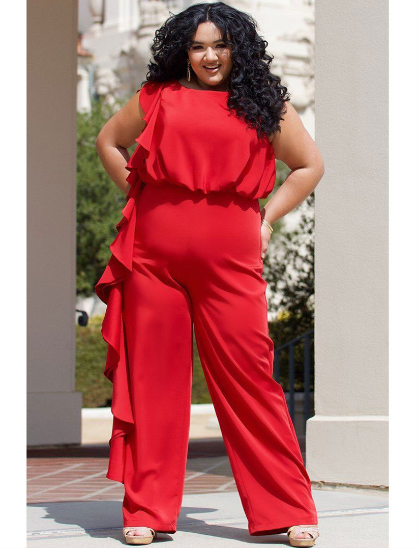 Bright red ruffled asymmetrical jumpsuit