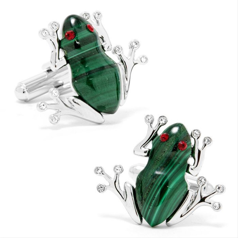 Green frog-themed cuff links 55th anniversary gift