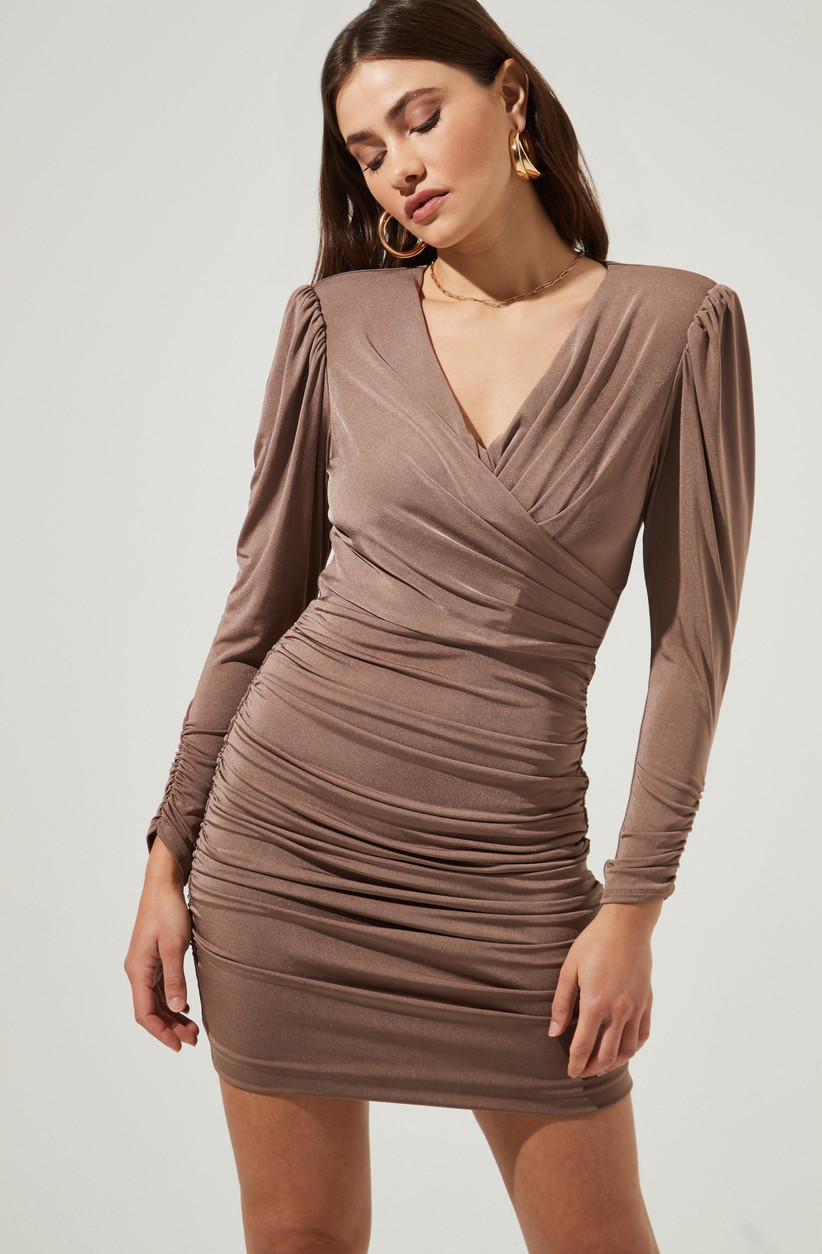 Long-sleeve nude hue ruched bodycon mini dress