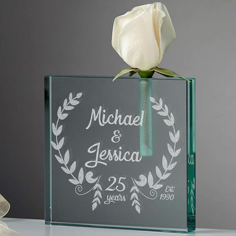 Engraved anniversary vase 55th anniversary gift