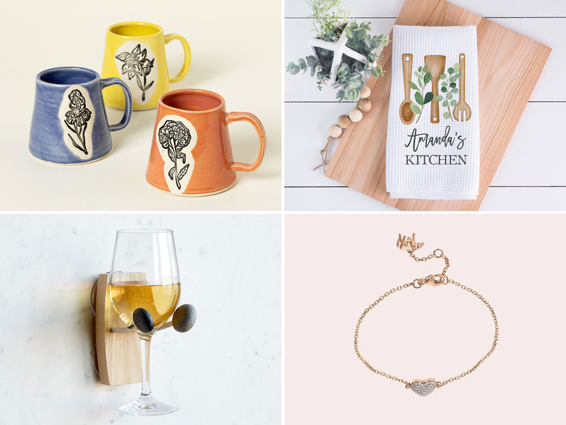 Gift ideas for daughter-in-law including coffee mug, personalized dish towel, wine holder, and bracelet