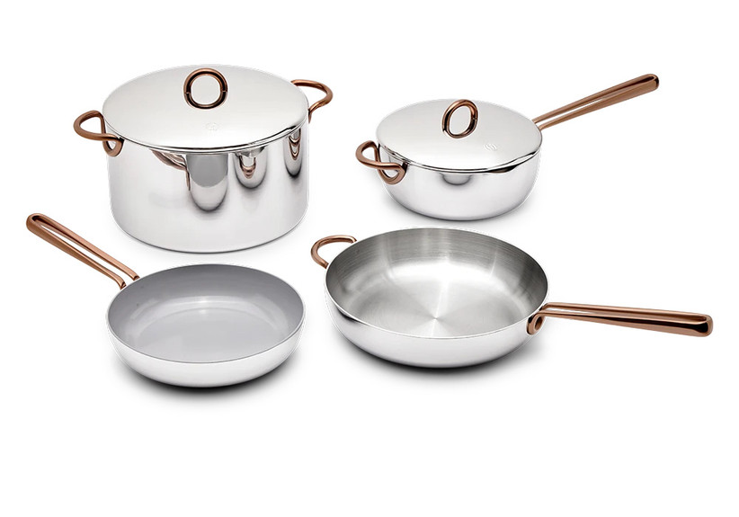 10 year anniversary gift stainless steel pot set with copper handles