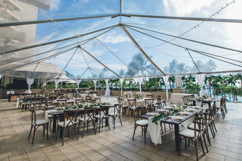 clear top tent wedding reception