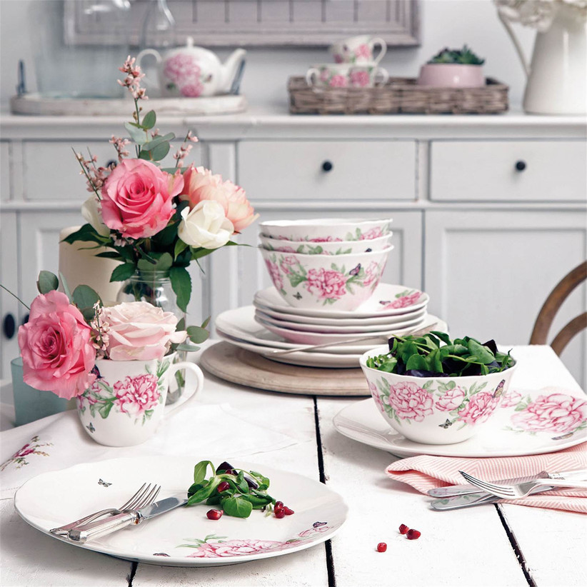 Floral porcelain tea set traditional 18th anniversary gift