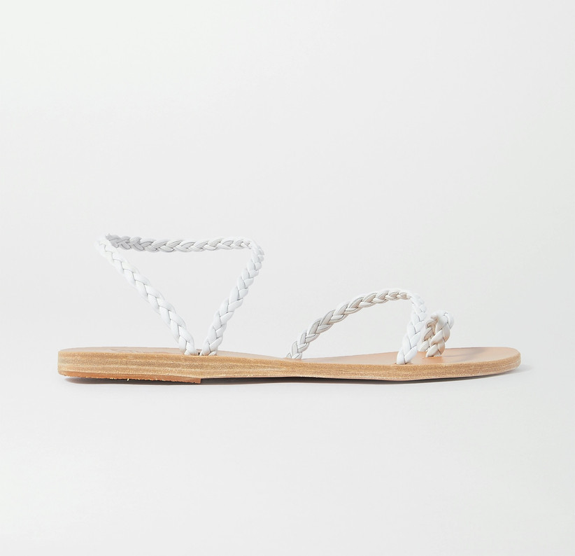flat beach wedding sandals with braided white leather straps