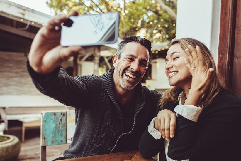 couple engagement phone