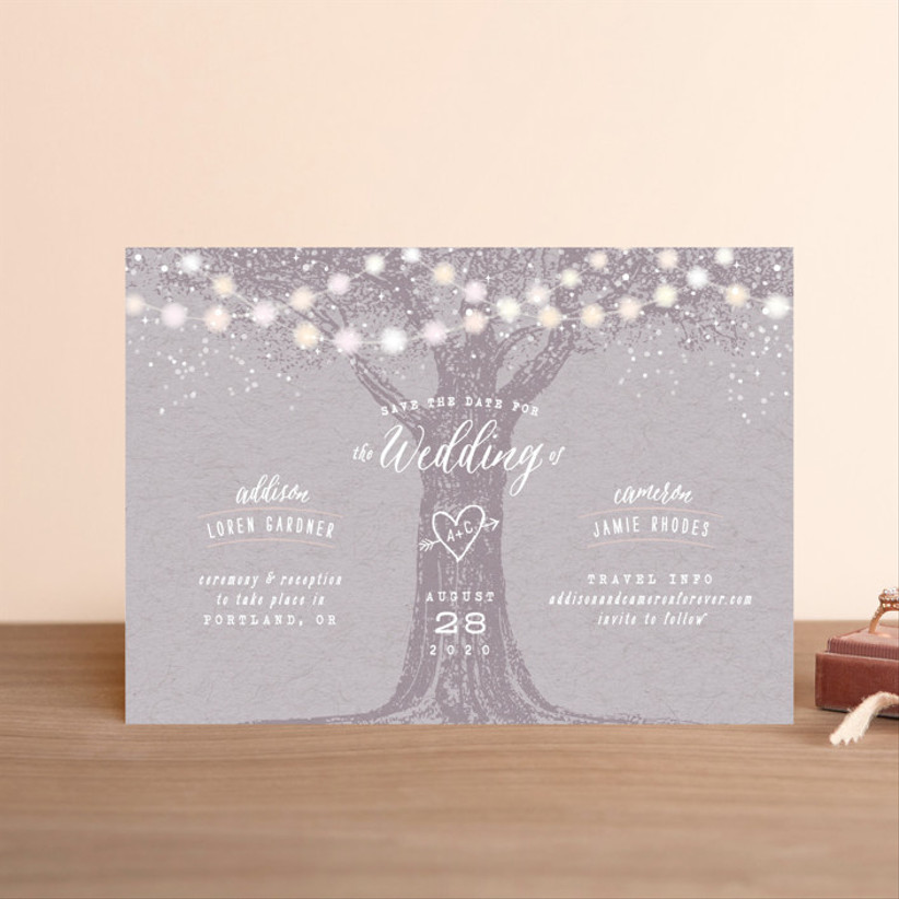 fall save the dates string lights