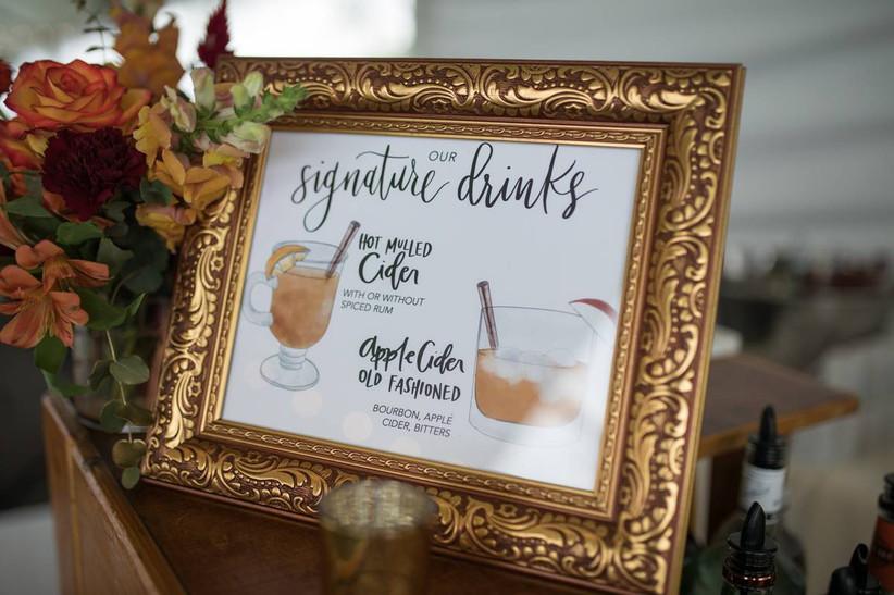 halloween themed wedding idea hot apple cider signature cocktails