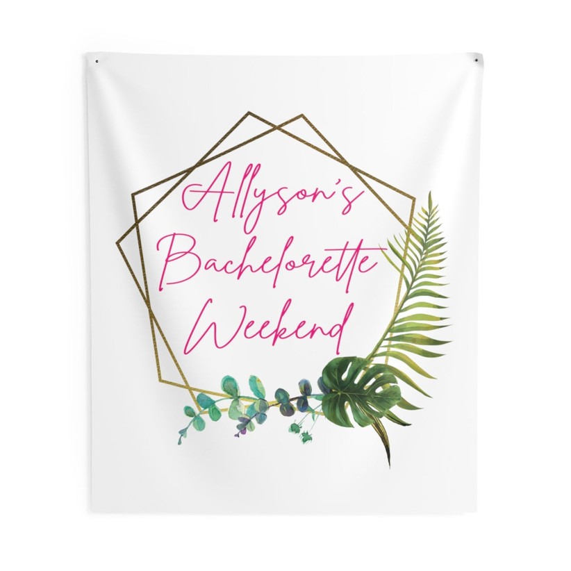 White tapestry bachelorette party backdrop personalized with bride-to-be's name with modern geometric design