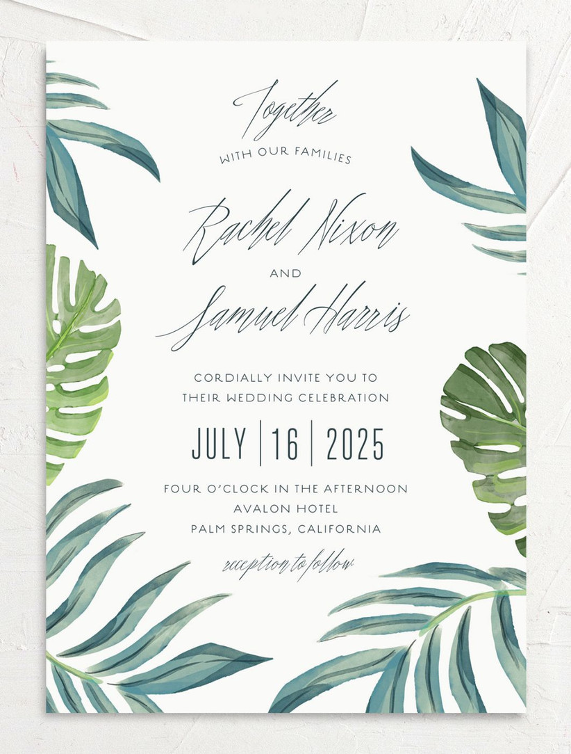 tropical summer wedding invitation with watercolor greenery and monstera leaves